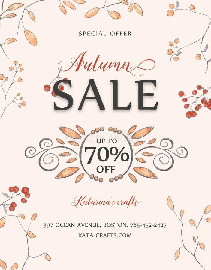 Opuscolo di vendita di autunno immagini stock