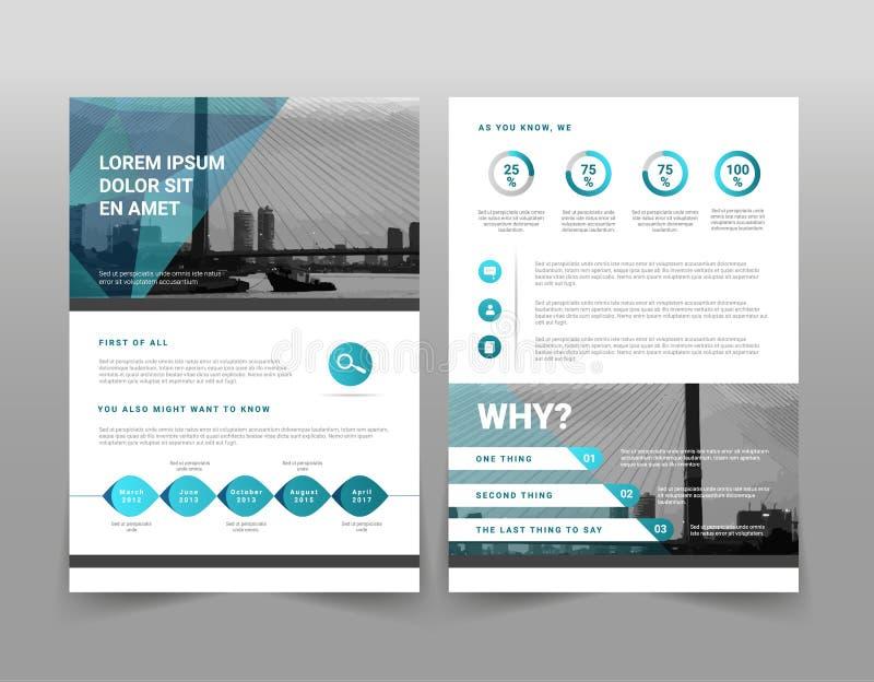 Opuscolo geometrico blu moderno di affari di vettore o modello infographic dell'opuscolo illustrazione di stock