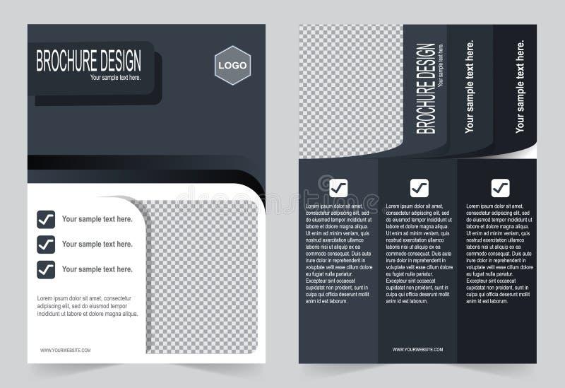 Opuscolo, modello in bianco e nero di colore di progettazione dell'aletta di filatoio illustrazione di stock
