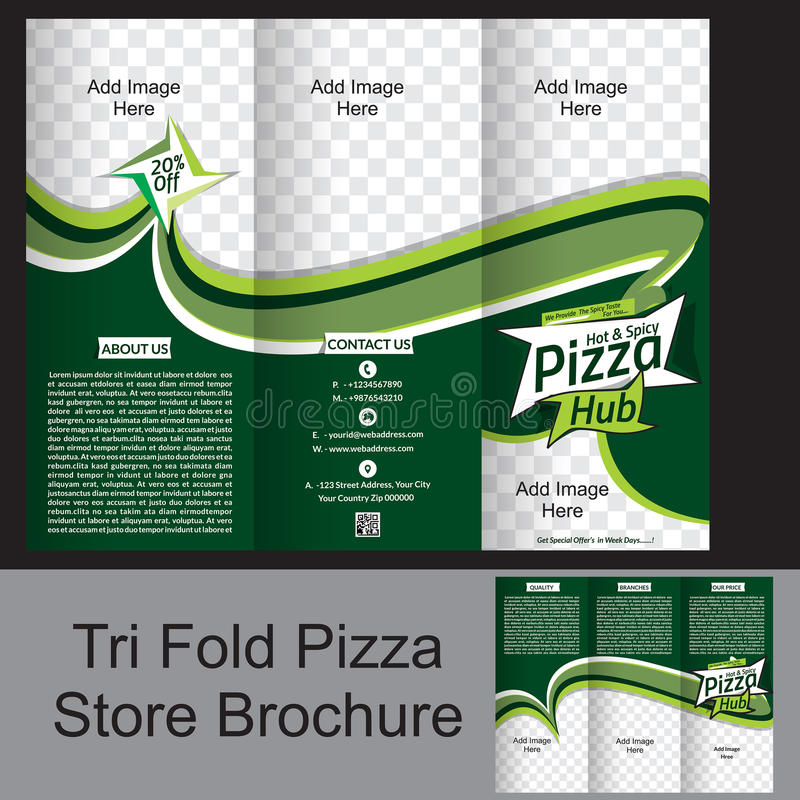 Opuscolo ripiegabile del deposito della pizza royalty illustrazione gratis