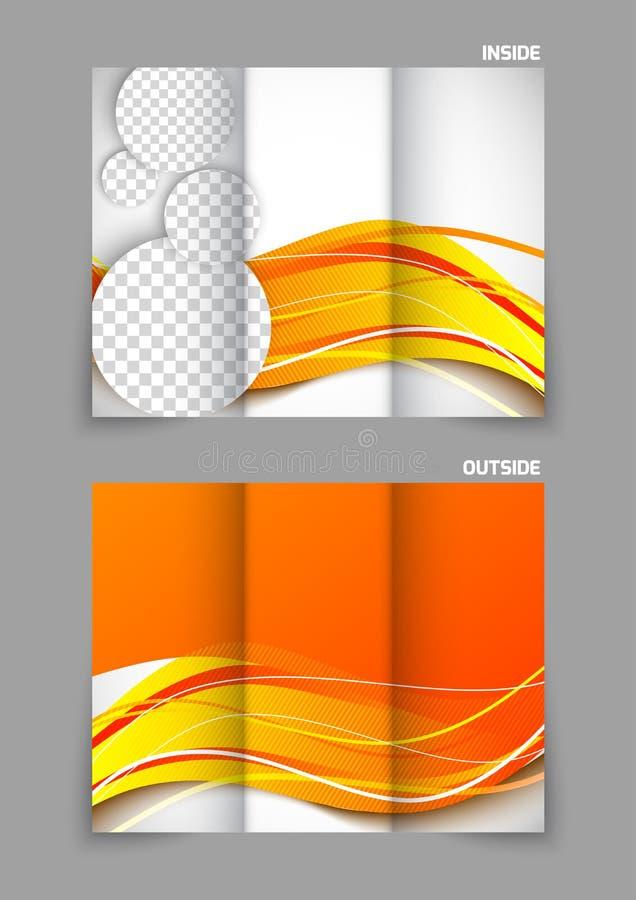 Opuscolo ripiegabile nel colore arancio illustrazione vettoriale
