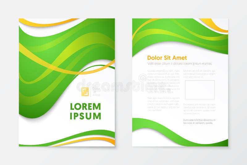 Opuscolo verde di affari del rapporto annuale, libretto, modello dell'aletta di filatoio della copertura dell'opuscolo illustrazione di stock