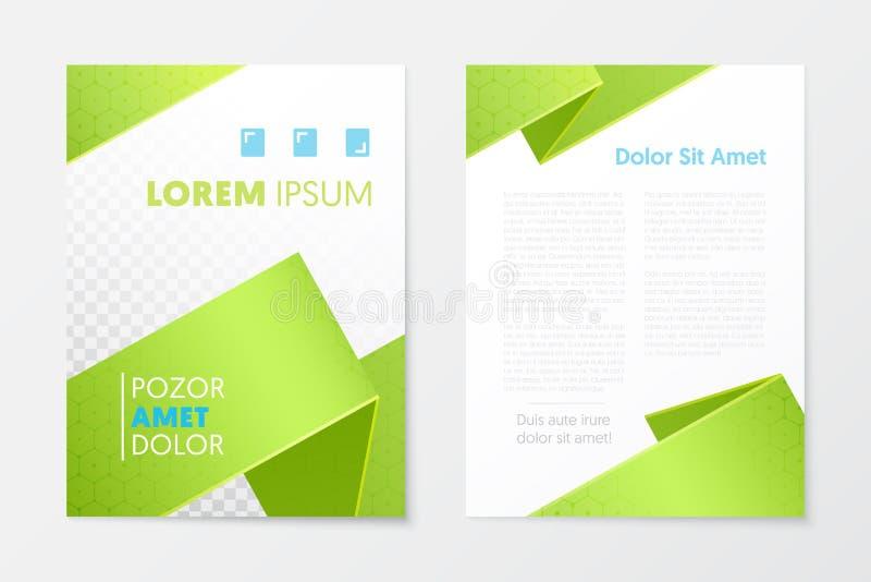 Opuscolo verde di affari del rapporto annuale, libretto, modello dell'aletta di filatoio della copertura dell'opuscolo Disegno co royalty illustrazione gratis