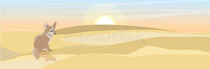 Opustoszały lisa fenek siedzi na piasku ilustracji