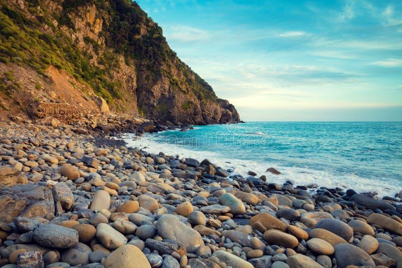 Opustoszała skalista otoczak plaża obrazy royalty free