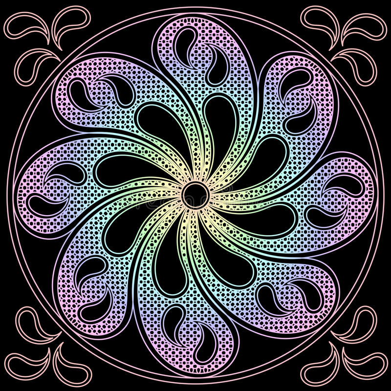 Opuszcza mandala round ornament ilustracja wektor