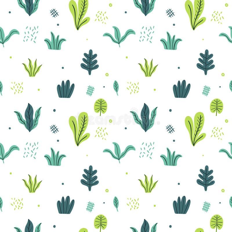 Opuszcza mieszkanie set Bezszwowe deseniowe Tropikalne rośliny odizolowywać na białym tle Natury prosty zielony kwiecisty Minimal royalty ilustracja