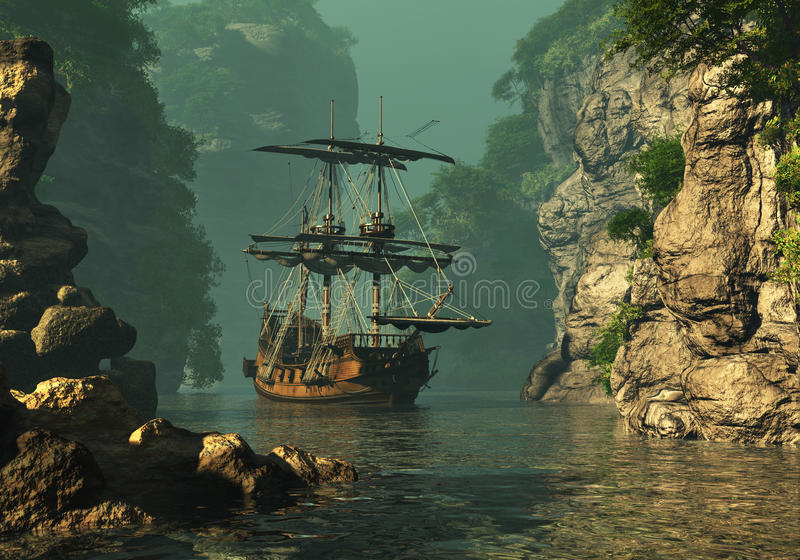 Opuszczający Kotwicowy 3d CG royalty ilustracja