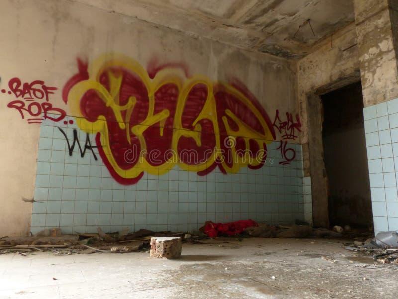 opuszczonych budynków graffiti fotografia stock