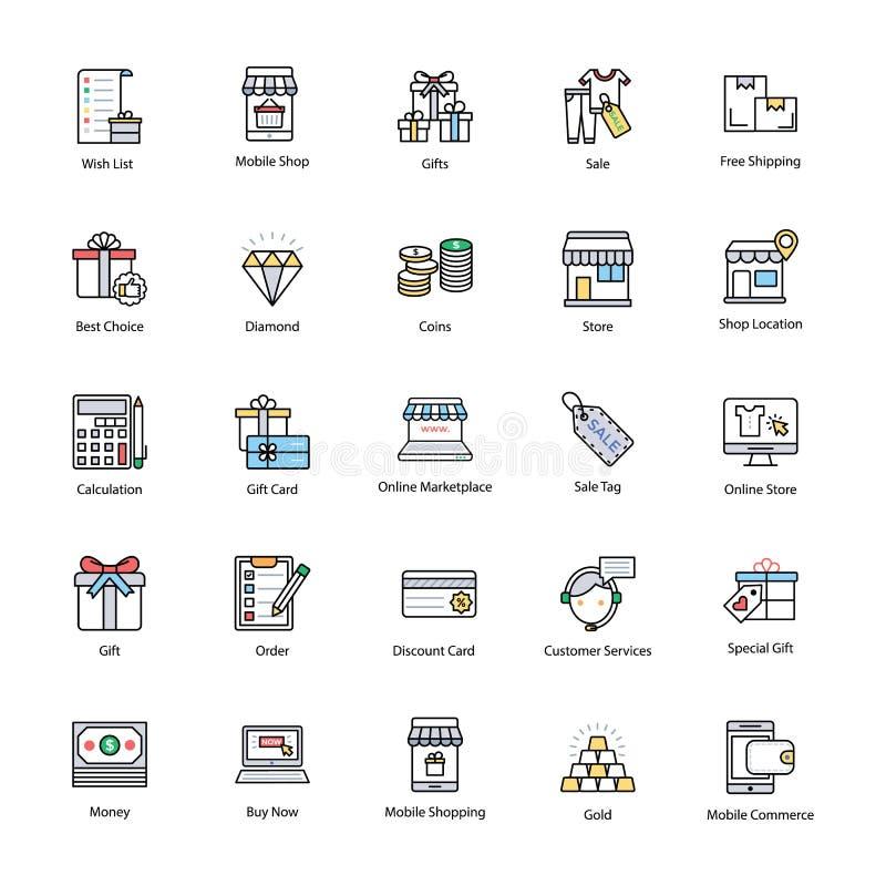 Opvallende het Winkelen en Handelspictogrammen vector illustratie