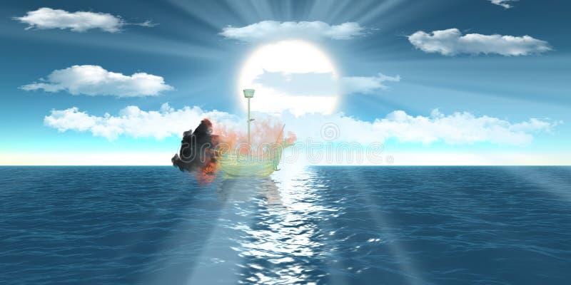 Opvlammend wireframe schip over overzeese blauwe hemel royalty-vrije illustratie