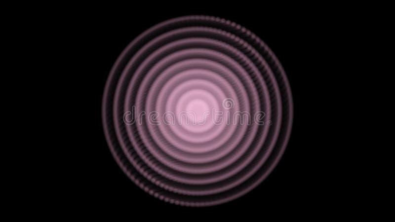 Opvlammende cirkels van licht en veranderende kleur die op zwarte achtergrond, naadloze lijn pulseren animatie Optisch effect vector illustratie