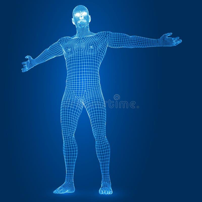 Opwindend digitaal mannelijk cijfer 3d vectorillustratie van de wireframestijl royalty-vrije illustratie