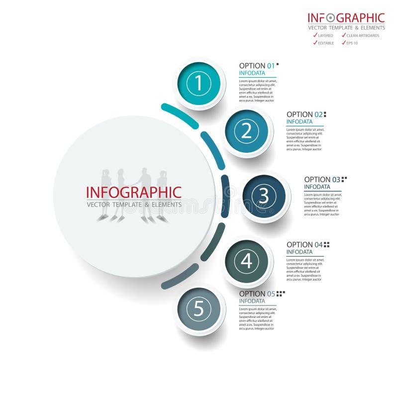 Opzione astratta di infographics 5 dell'elemento di vettore Progettazione per il busine illustrazione vettoriale
