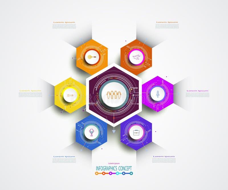Opzione o punto astratta di esagono 6 del modello di infographics royalty illustrazione gratis