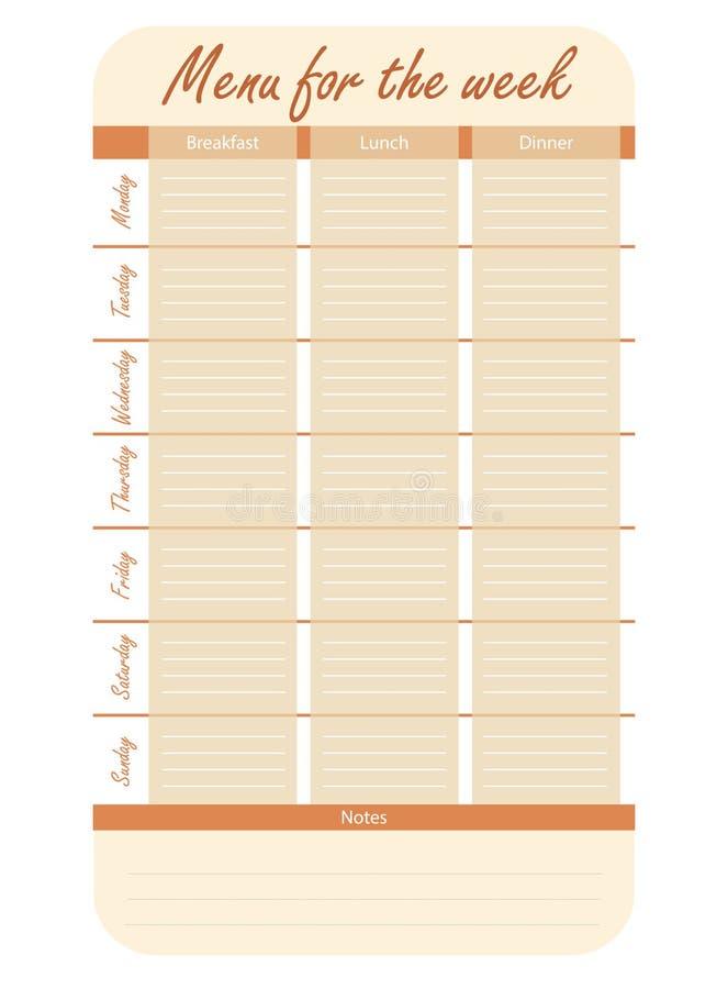 Opzioni arancio del menu per la settimana modello per il diario dell'alimento piano del pasto per il vettore di settimana royalty illustrazione gratis