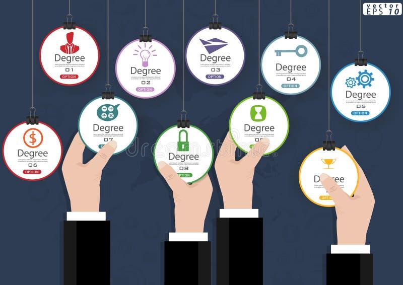 Opzioni d'attaccatura dell'icona di affari per il modello di Infographic dell'illustrazione di vettore di idea e di concetto di p immagini stock