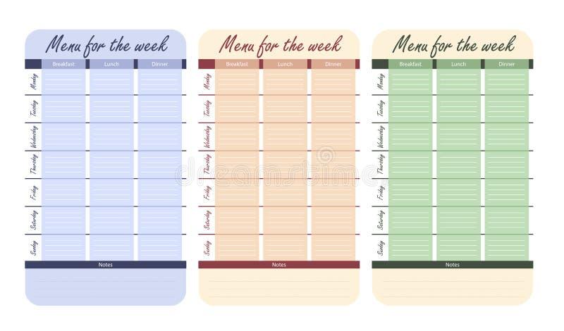 3 opzioni del menu di colore per la settimana modello per il diario dell'alimento piano del pasto per il vettore di settimana illustrazione vettoriale
