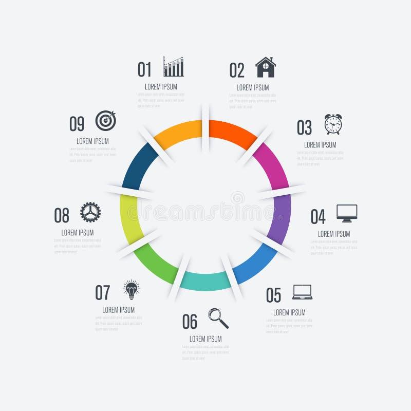 Opzioni del modello 9 di Infographics con il cerchio illustrazione di stock