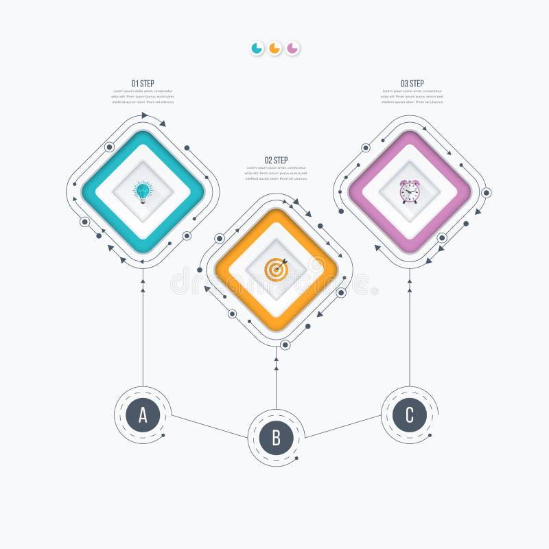Opzioni del modello 3 di Infographics con il quadrato illustrazione vettoriale