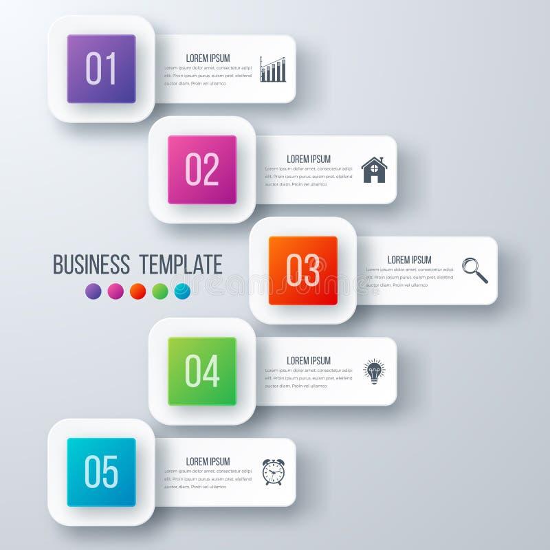 Opzioni del modello 5 di Infographics con il quadrato illustrazione di stock