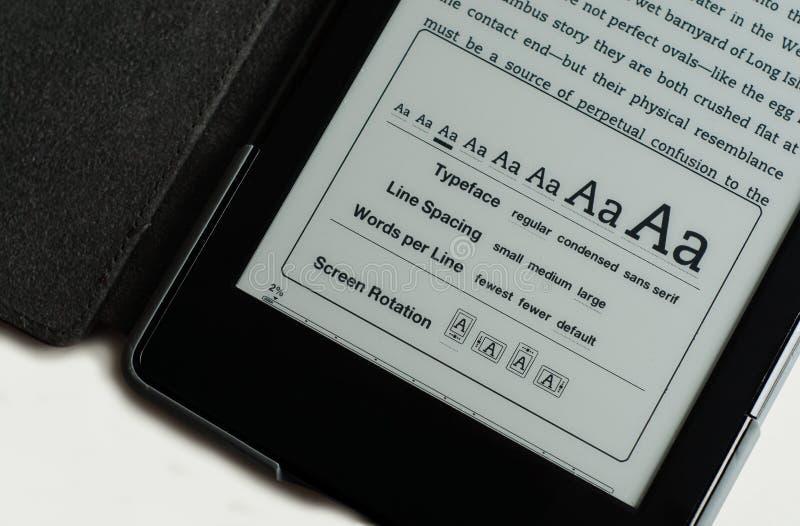 Opzioni dello schermo del E-lettore immagini stock