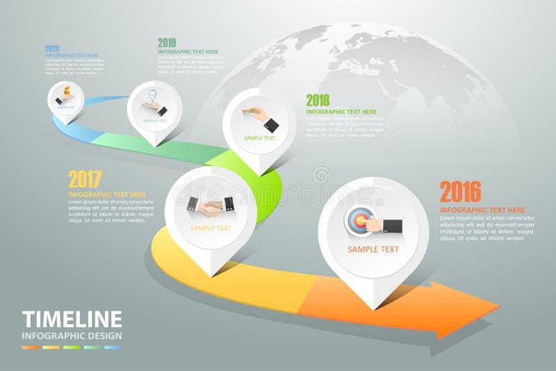 Opzioni infographic di cronologia 5, modello infographic di concetto di affari illustrazione di stock