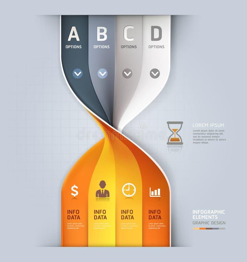 Opzioni moderne dei grafici di informazioni di spirale dell'orologio della sabbia. illustrazione di stock