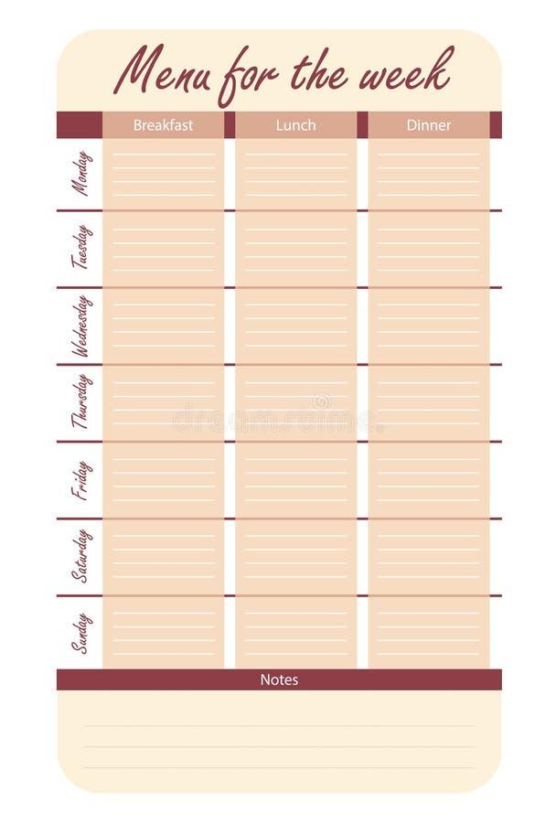 Opzioni rosse del menu per la settimana modello per il diario dell'alimento piano del pasto per il vettore di settimana royalty illustrazione gratis