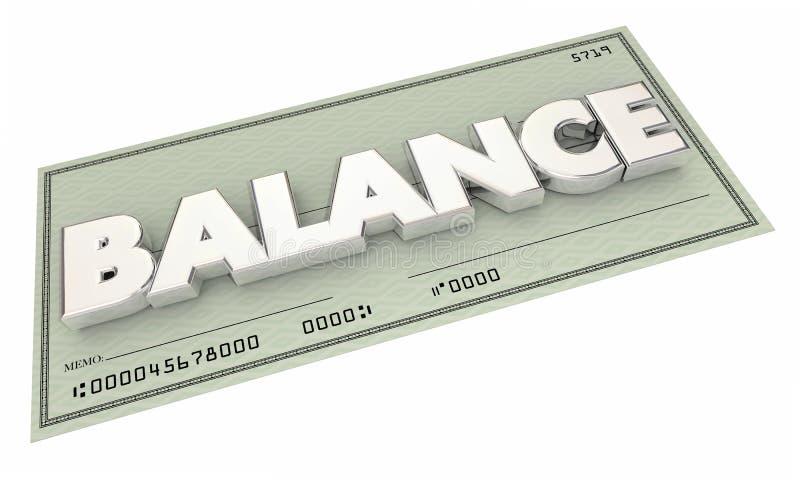 Orçamento da conta bancária da verificação do dinheiro do equilíbrio ilustração stock
