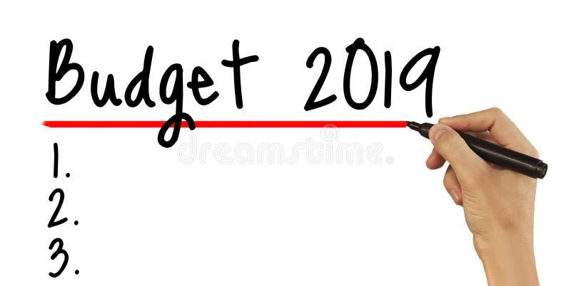 Orçamento 2019 - texto masculino da escrita da mão no fundo branco foto de stock