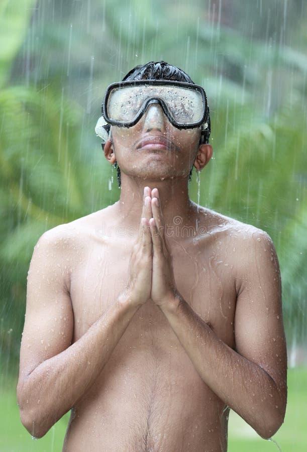 Oração da chuva da selva fotografia de stock