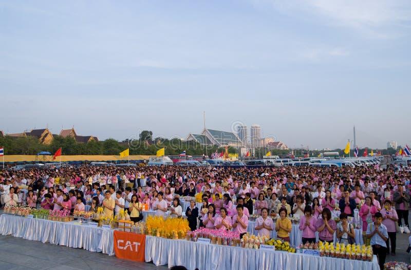 Oração da manhã em Sanam Luang em Banguecoque imagens de stock