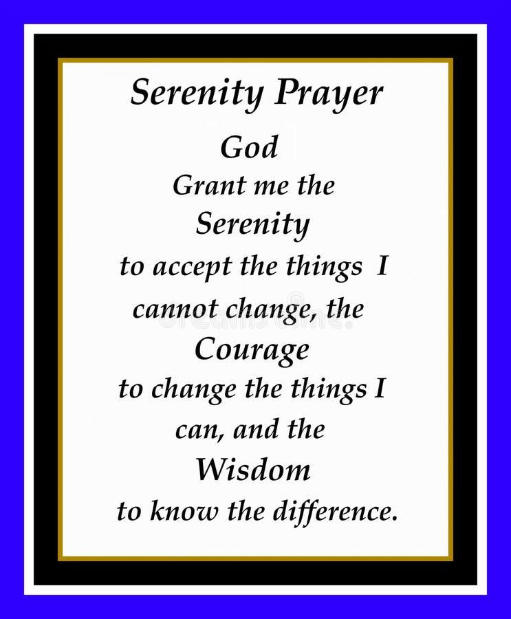 Oração da serenidade ilustração royalty free