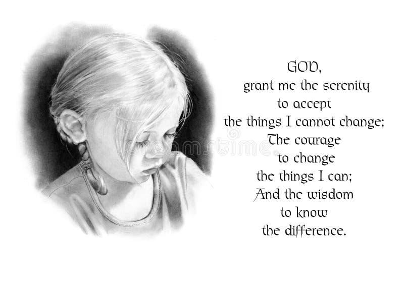 Oração da serenidade com o desenho de lápis da menina ilustração stock
