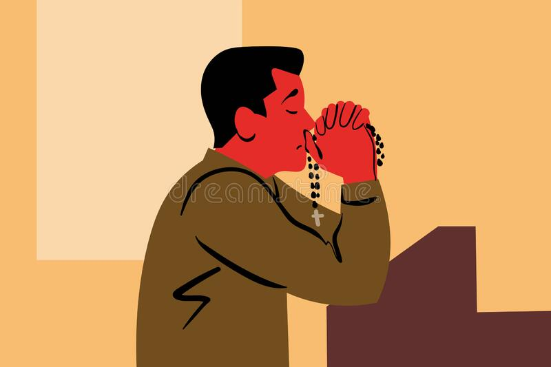 Oração, deus, religião, igreja, cristianismo, pedido, conceito de fé ilustração stock