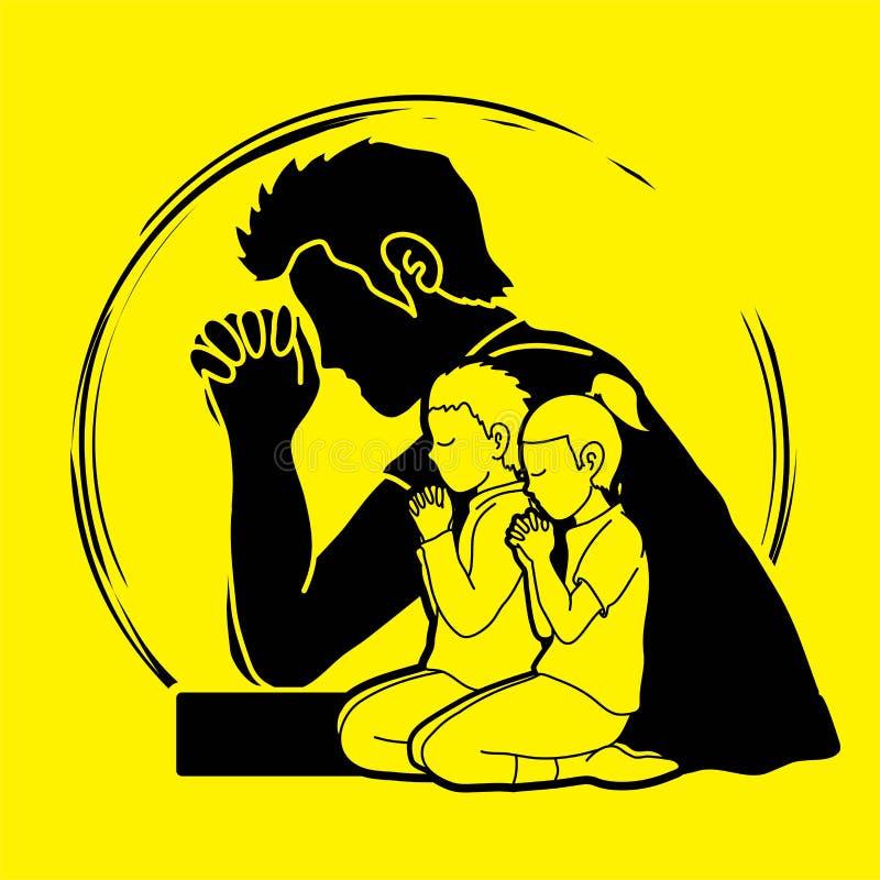 Oração do rapaz pequeno e da menina, elogio ao senhor ilustração stock