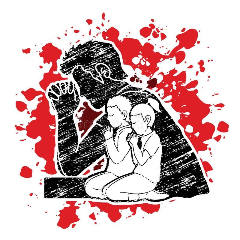 Oração do rapaz pequeno e da menina, elogio ao senhor ilustração do vetor