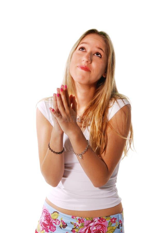 Oração loura das expressões fotografia de stock