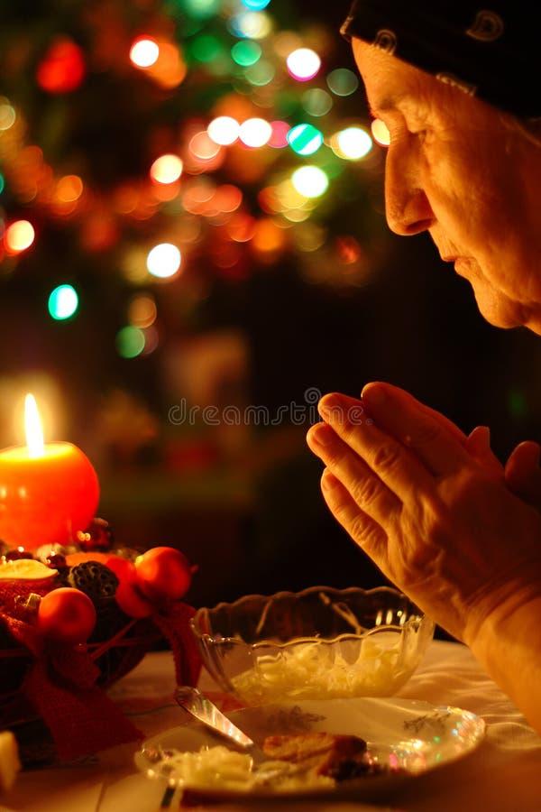 Oração para o jantar de Natal fotografia de stock