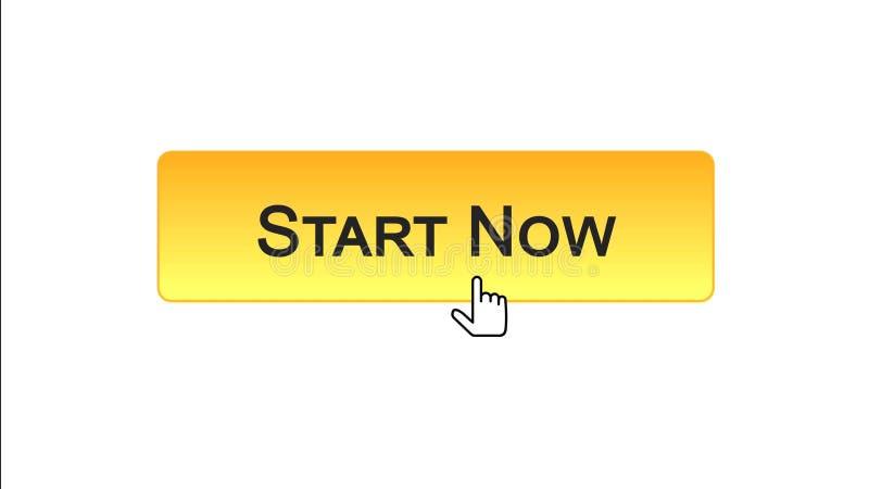 Ora avvii il bottone dell'interfaccia di web cliccato con il cursore del topo, il colore arancio, affare royalty illustrazione gratis
