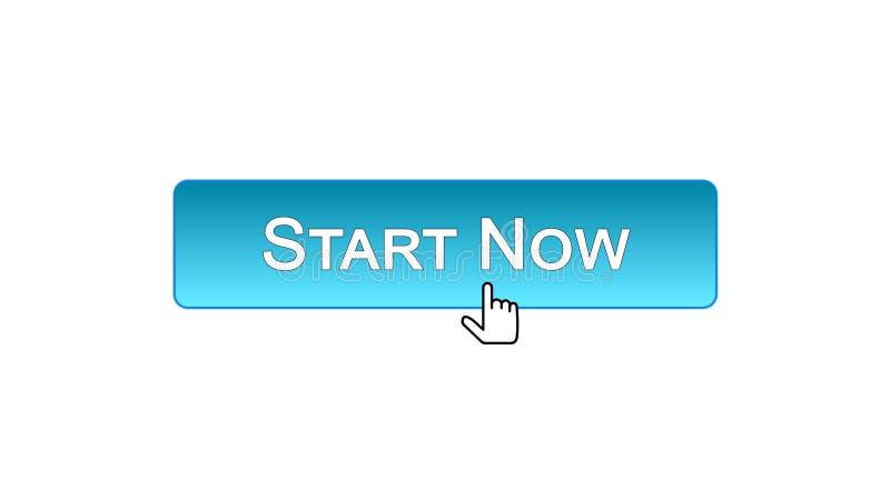 Ora avvii il bottone dell'interfaccia di web cliccato con il cursore del topo, il colore blu, affare illustrazione vettoriale
