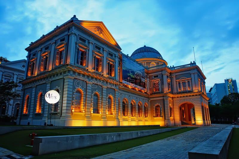 Ora blu alla diga del porticciolo di Singapore fotografia stock