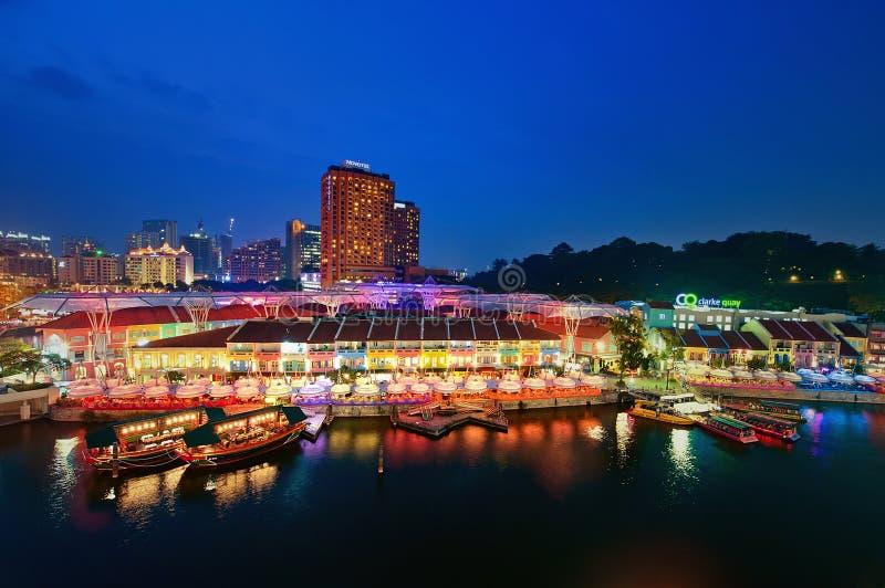 Ora blu @ Clarke Quay Singapore River_0696 fotografie stock libere da diritti
