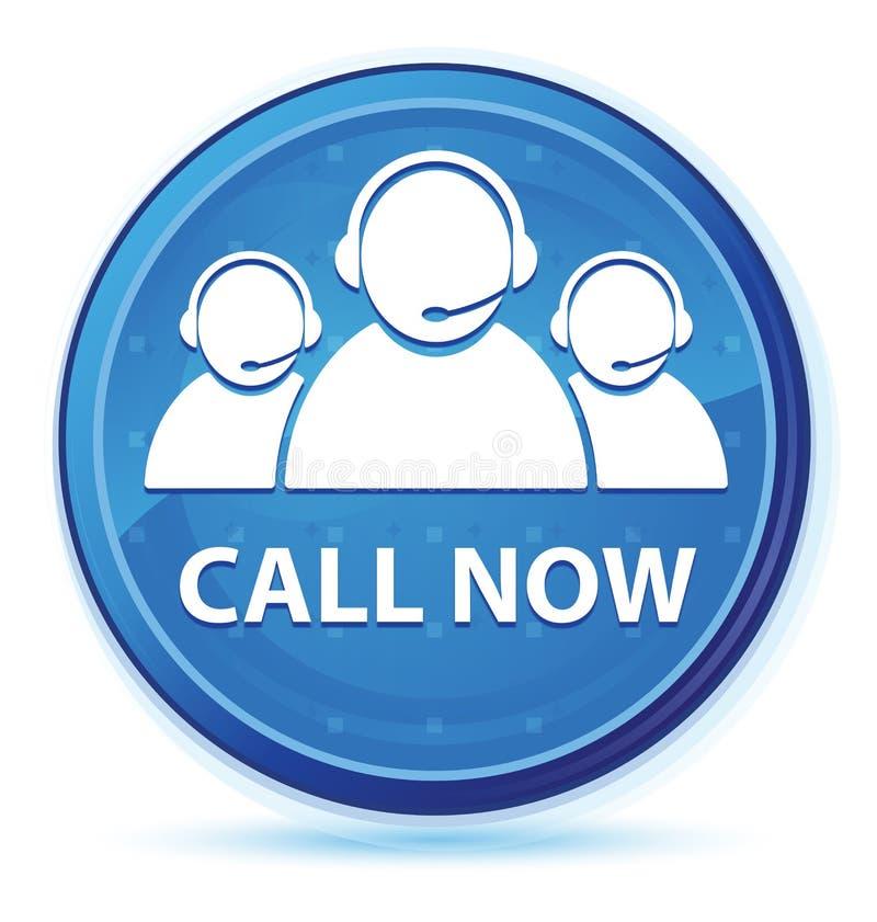 Ora chiami (icona del gruppo di cura del cliente) il bottone rotondo principale blu di mezzanotte illustrazione di stock