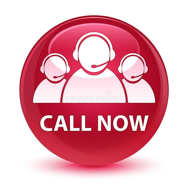 Ora chiami (icona del gruppo di cura del cliente) il bottone rotondo rosa vetroso royalty illustrazione gratis