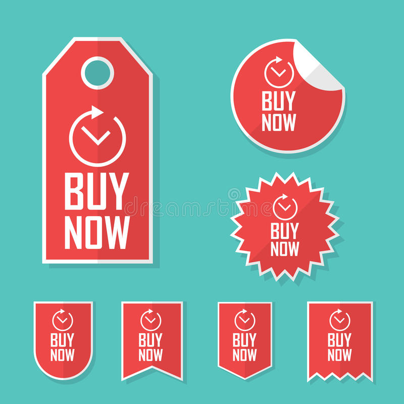 Ora compri gli autoadesivi Etichette di offerta di tempo limitato da vendere Raccolta promozionale degli elementi di pubblicità royalty illustrazione gratis