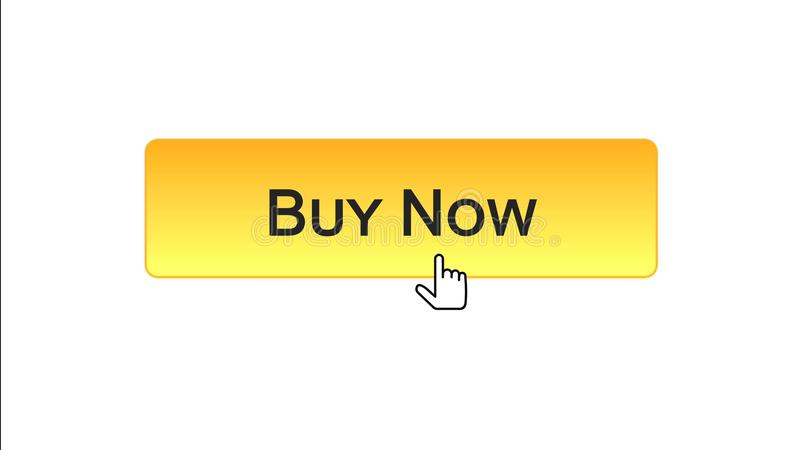 Ora compri il bottone dell'interfaccia di web cliccato con il cursore del topo, il colore arancio, credito royalty illustrazione gratis