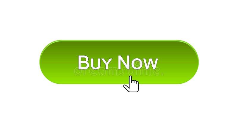 Ora compri il bottone dell'interfaccia di web cliccato con il cursore del topo, il colore verde, credito illustrazione di stock