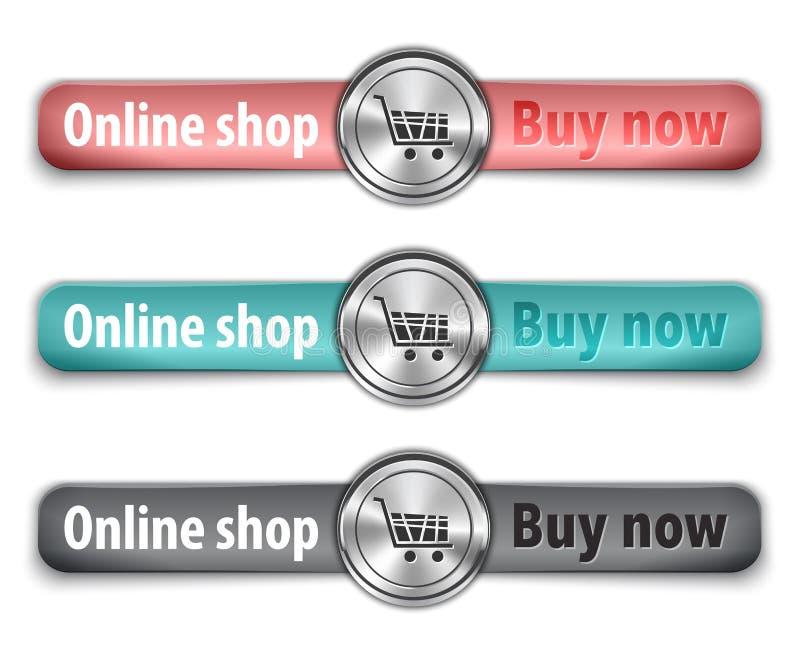 Ora compri l'elemento metallico di Web con le cinghie di cuoio colorate illustrazione vettoriale